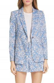 Alice   Olivia Macey Floral Print Cotton Blend Blazer   Nordstrom at Nordstrom