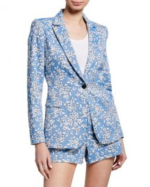 Alice   Olivia Macey Floral-Print One-Button Blazer at Neiman Marcus