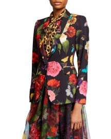Alice   Olivia Macey Floral Strong Shoulder Shawl-Collar Blazer at Neiman Marcus