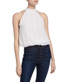 Alice   Olivia Maris Halter-Neck Gathered Top at Neiman Marcus