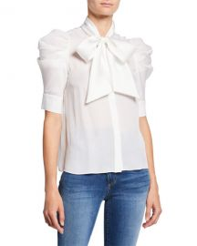 Alice   Olivia Maylee Tie-Neck Puff-Sleeve Button-Down Blouse at Neiman Marcus