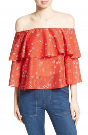 Alice   Olivia Meagan Double Layer Off the Shoulder Top at Nordstrom