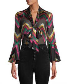 Alice   Olivia Merideth Slit-Sleeve Tie-Neck Top at Neiman Marcus