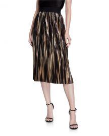 Alice   Olivia Mikaela Pleated Metallic Stripe Midi Skirt at Neiman Marcus