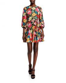 Alice   Olivia Mina Puff-Sleeve Godet Dress w  Belt at Neiman Marcus