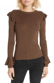 Alice   Olivia Mittie Ruffled Pullover Sweater at Nordstrom