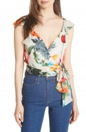 Alice   Olivia Nicole Ruffle Wrap Top at Nordstrom