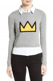 Alice   Olivia Nikia Layered Look Crown Sweater at Nordstrom