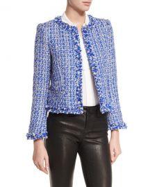 Alice   Olivia Nila Tweed Frayed-Hem Box Jacket at Neiman Marcus
