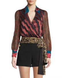 Alice   Olivia Omega Blouson-Sleeve Wrap Top at Neiman Marcus