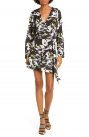 Alice   Olivia Ophelia Faux Wrap Long Sleeve Minidress   Nordstrom at Nordstrom
