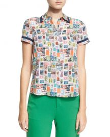 Alice   Olivia Oswald Short-Sleeve Button-Down Top  Multi at Neiman Marcus