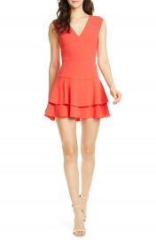 Alice   Olivia Palmira Double Ruffle Fit  amp  Flare Minidress   Nordstrom at Nordstrom
