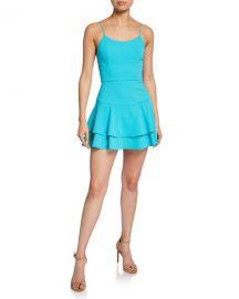 Alice   Olivia Palmira Mini Ruffle Tank Dress at Neiman Marcus
