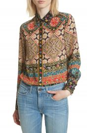 Alice   Olivia Patchwork Print Silk Shirt at Nordstrom