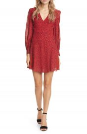 Alice   Olivia Polly Red Leopard Print Long Sleeve Fit  amp  Flare Dress   Nordstrom at Nordstrom