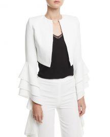 Alice   Olivia Presley Open-Front Ruffle-Sleeve Short Silk Blazer at Neiman Marcus
