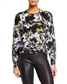 Alice   Olivia Quintin Printed Crewneck Pullover Sweater at Neiman Marcus
