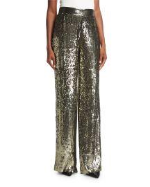 Alice   Olivia Racquel High-Waist Wide-Leg Sequin Pants   Neiman at Neiman Marcus