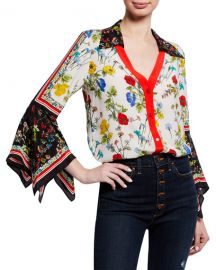 Alice   Olivia Randa Floral-Print Button-Down Trumpet-Sleeve Blouse at Neiman Marcus