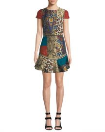 Alice   Olivia Rapunzel Curved-Hem Patchwork Mini Dress at Neiman Marcus