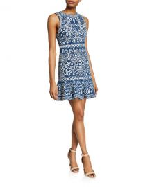 Alice   Olivia Rapunzel Embroidered Sleeveless Dress at Neiman Marcus
