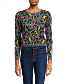 Alice   Olivia Rhodes Crewneck Long-Sleeve Top at Neiman Marcus