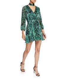 Alice   Olivia Rita Mock-Neck Blouson-Sleeve Dress at Neiman Marcus