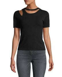 Alice   Olivia Roslyn Short-Sleeve Cutout Fitted Sweater at Neiman Marcus