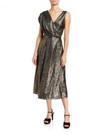 Alice   Olivia Roxy Front-Drape Midi Dress at Neiman Marcus