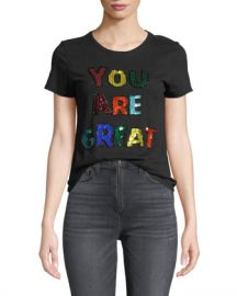 Alice   Olivia Rylyn Embellished Short-Sleeve Crewneck Tee at Neiman Marcus