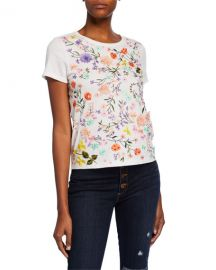 Alice   Olivia Rylyn Floral Embellished Short-Sleeve Crewneck Top at Neiman Marcus
