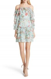 Alice   Olivia Santos Off the Shoulder Tiered Silk Dress at Nordstrom