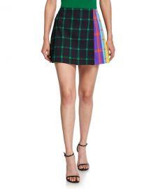 Alice   Olivia Semira Grid Pleated Colorblock Mini Skirt at Neiman Marcus