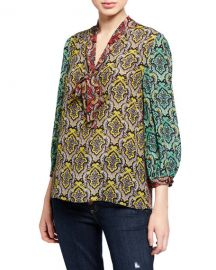 Alice   Olivia Sheila Blouson-Sleeve V-Neck Top at Neiman Marcus