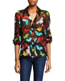 Alice   Olivia Sheila Butterfly Blouson-Sleeve Button-Front Top at Neiman Marcus