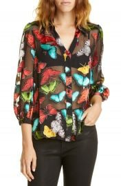 Alice   Olivia Sheila Butterfly Print Silk Blend Top   Nordstrom at Nordstrom