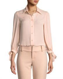 Alice   Olivia Simon Tie-Sleeve Button-Down Top at Neiman Marcus