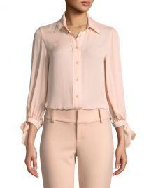 Alice   Olivia Simon Tie-Sleeve Button-Down Top at Neiman Marcus