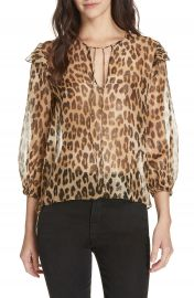 Alice   Olivia Sissy Metallic Leopard Print Silk Blend Top at Nordstrom