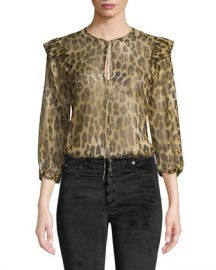 Alice   Olivia Sissy Tiered Ruffle-Sleeve Blouse at Neiman Marcus