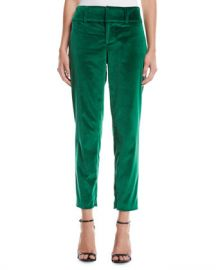 Alice   Olivia Stacey Slim Velvet Ankle Pants at Neiman Marcus