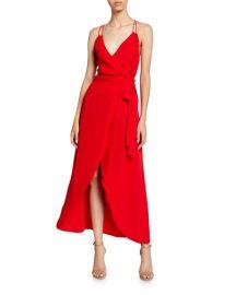 Alice   Olivia Susana Multi-Strap Mock-Wrap Midi Dress at Neiman Marcus