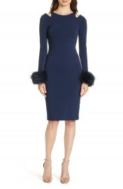 Alice   Olivia Tabitha Genuine Fox Fur Cuff Dress   Nordstrom at Nordstrom