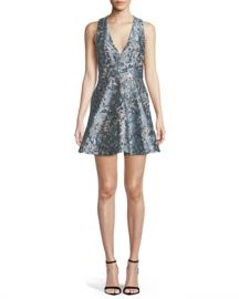 Alice   Olivia Tennie Floral Embroidered Mini Party Dress at Neiman Marcus