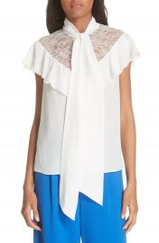 Alice   Olivia Terry Tie Neck Silk Blouse at Nordstrom