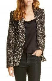 Alice   Olivia Toby Fitted Leopard Print Stretch Cotton Blend Blazer   Nordstrom at Nordstrom