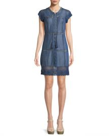 Alice   Olivia Tona Patchwork Chambray Lace-Up Dress at Neiman Marcus