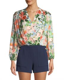 Alice   Olivia Trista Cross-Front Floral-Print Blouson Top at Neiman Marcus