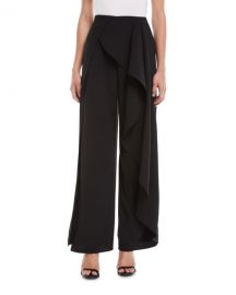 Alice   Olivia Verdell Slit Ruffle Wide-Leg Pants at Neiman Marcus